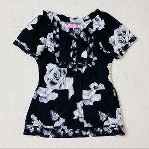 Koi Scrub Top XS Black White Roses Floral Pocket